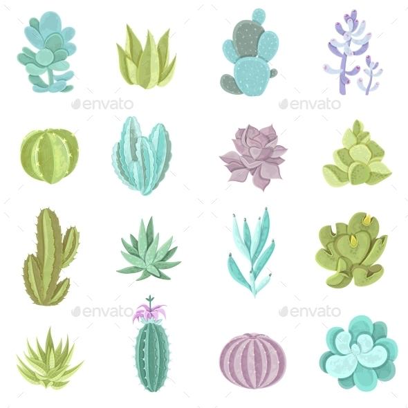 Cactus Icons Set  - Flowers & Plants Nature