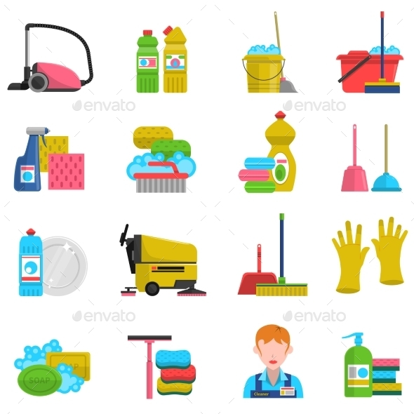 Cleaning Icons Set  - Man-made objects Objects