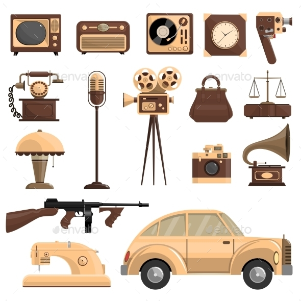 Retro Objects Set - Man-made Objects Objects