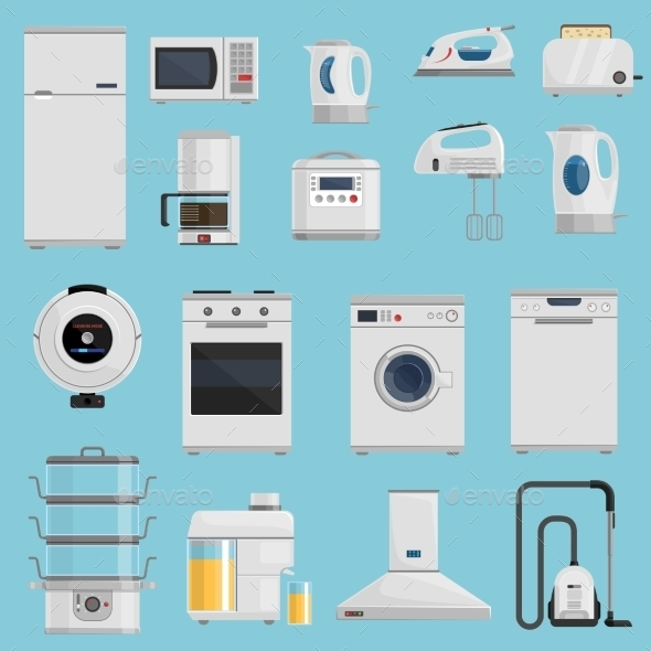 Household Appliances Icons Set  - Man-made Objects Objects