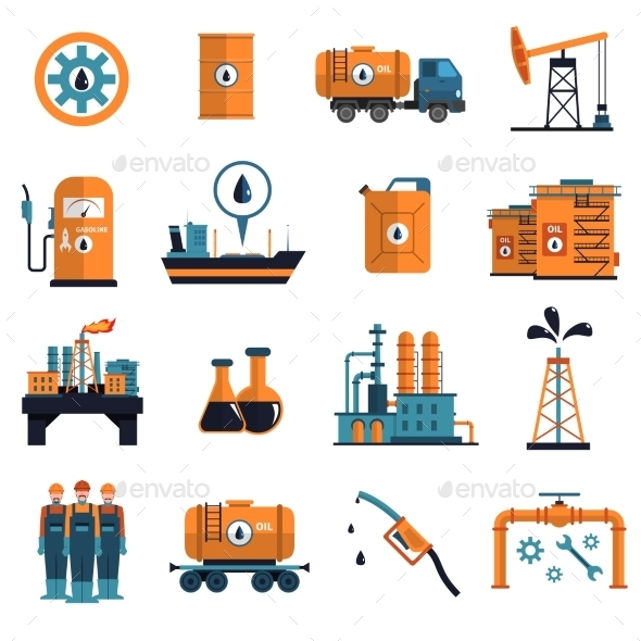 Oil Icons Set  - Business Icons