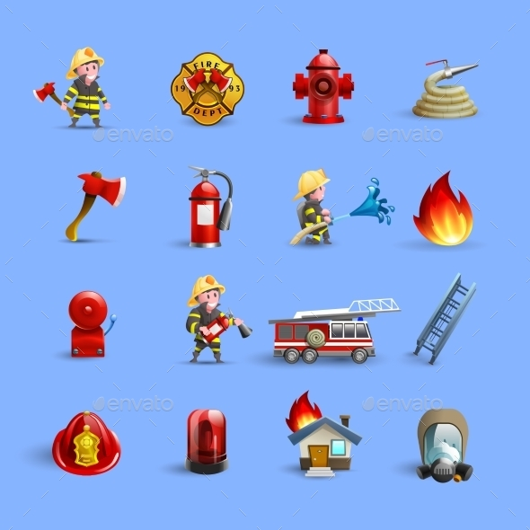 Firefighters Cartoon Icons Red Blue Set - Miscellaneous Icons
