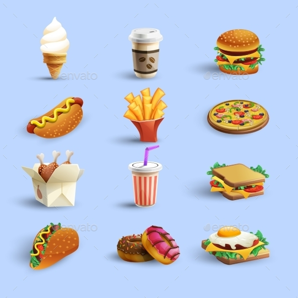 Fastfood Icons Cartoon Set - Food Objects
