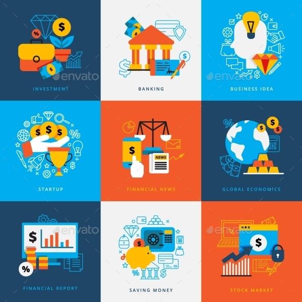 Finance Design Concept Set - Decorative Symbols Decorative