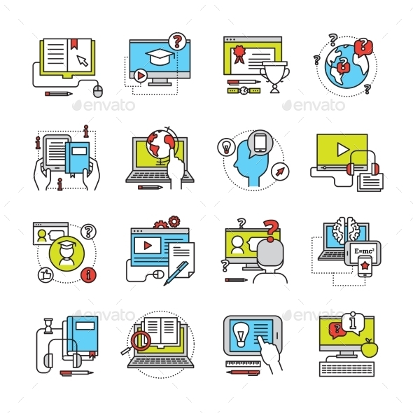Online Education Flat Icon Set - Media Icons