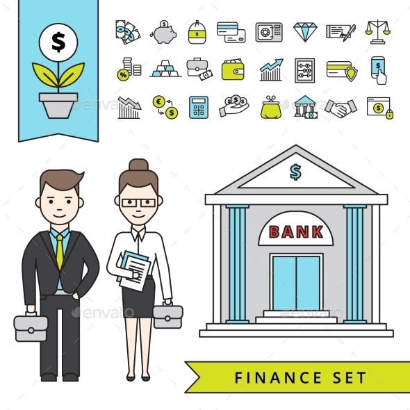 Flat Finance Concept With Businessman And Bank - Business Conceptual