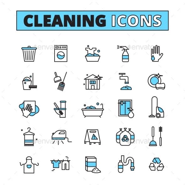 Cleaning Hand Drawn Icon Set - Decorative Symbols Decorative