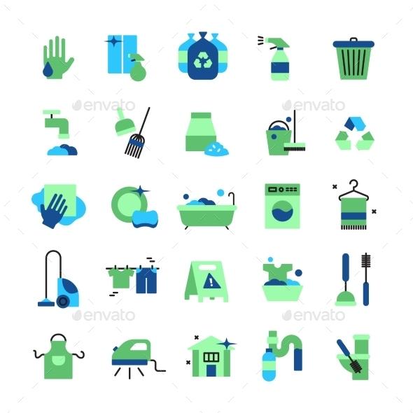 Cleaning Flat Color Icons Set - Decorative Symbols Decorative
