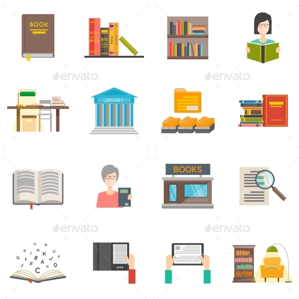 Library Icons Set - Technology Conceptual