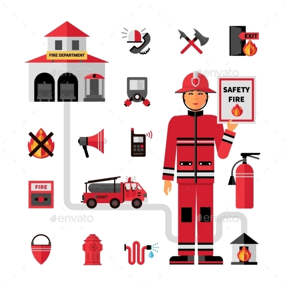 Fire Department Flat Icons Set  - Miscellaneous Conceptual
