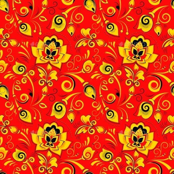 Floral Seamless Pattern In Russian Style Khokhloma - Flowers & Plants Nature