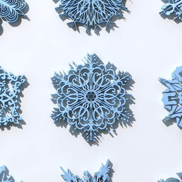 16 Snowflakes Christmas Ornament  - 3DOcean Item for Sale