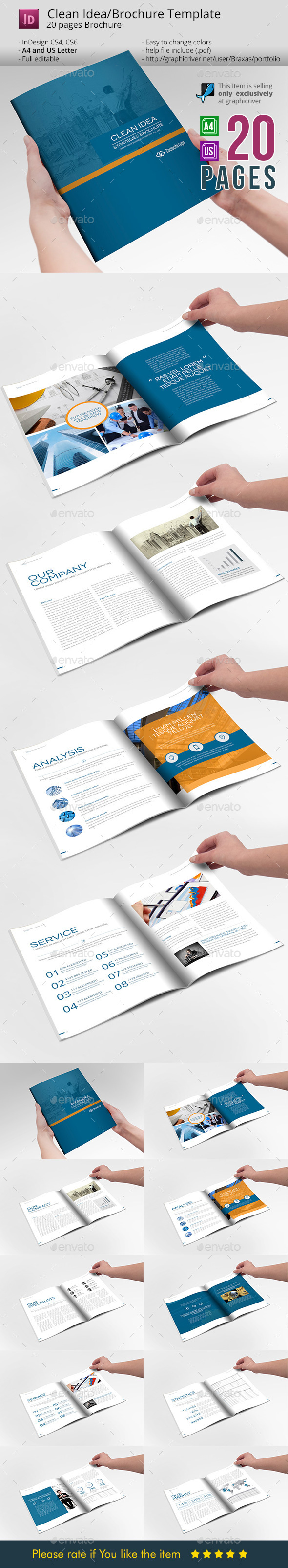 Clean Idea _ InDesign Busines Brochure Template - Informational Brochures