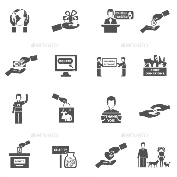 Charity Black White Icons Set - People Characters
