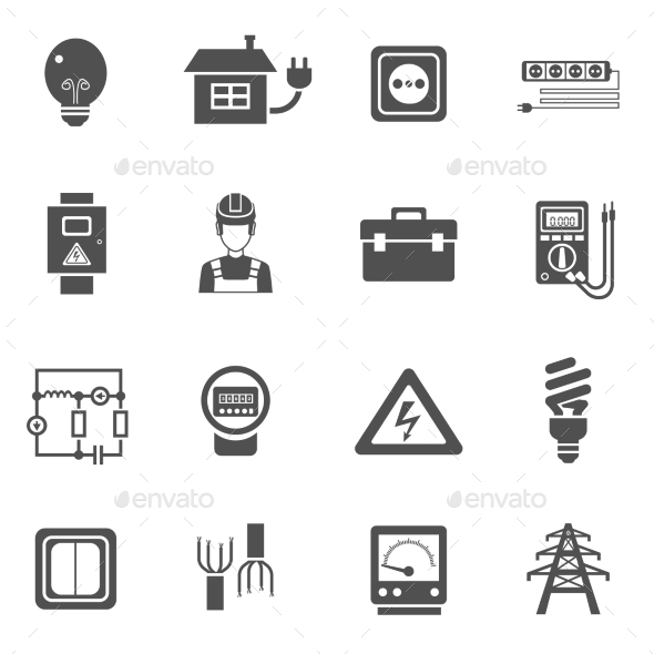 Electricity Black White Icons Set