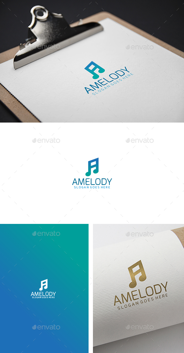 A Music Melody Letter Logo - Letters Logo Templates