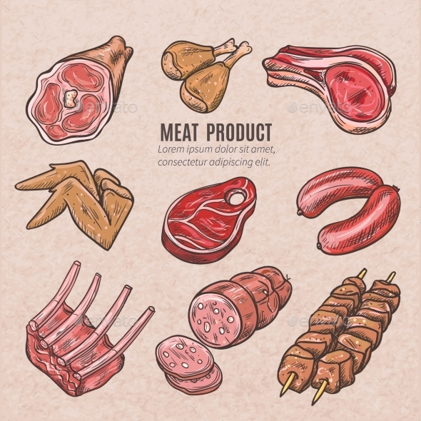 Meat Products Color Sketches - Food Objects