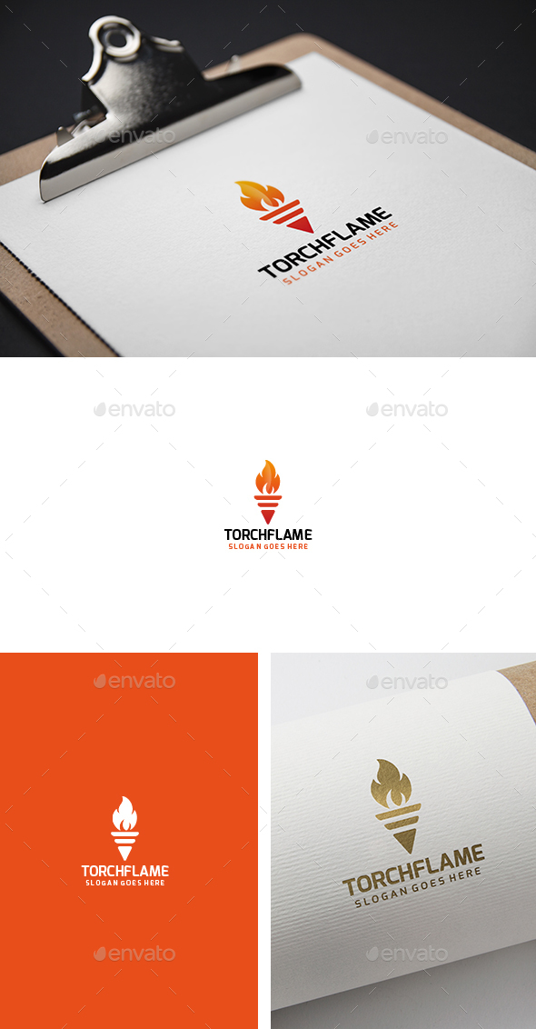 Torch Flame Fire Logo - Abstract Logo Templates
