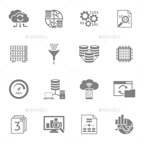 Database Analytics Black Icons Set  - Software Icons