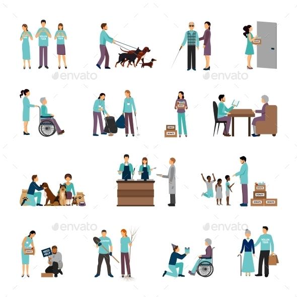 Volunteers People Set - People Characters