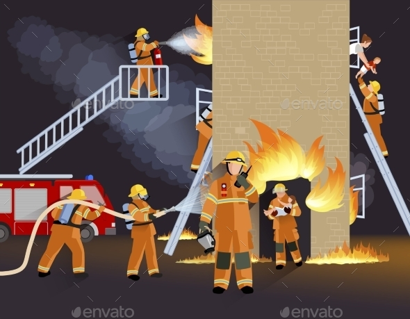 Firefighter People Design Concept - Decorative Symbols Decorative