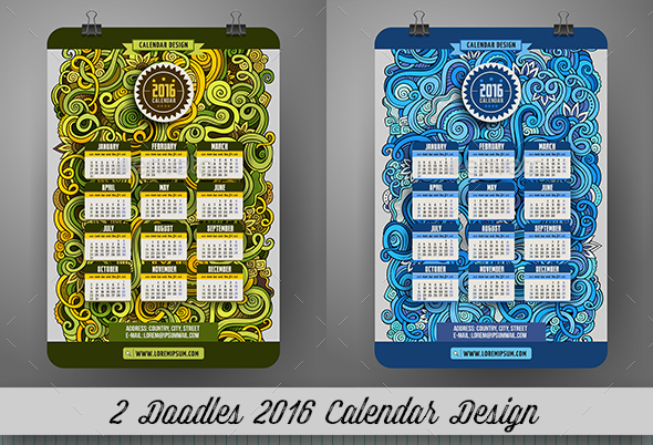 2016 Calendar Design - Seasons/Holidays Conceptual