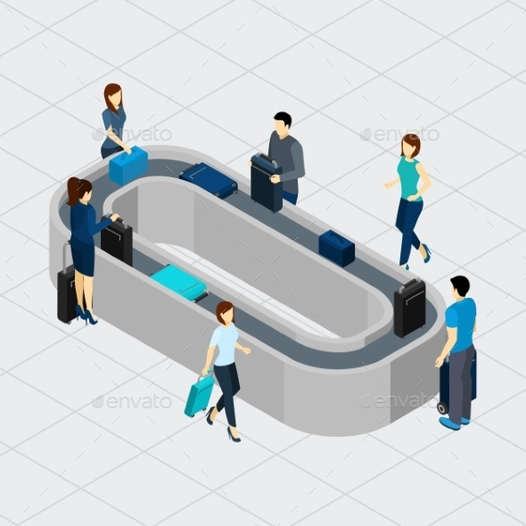 Airport Conveyor Line Illustration  - Travel Conceptual