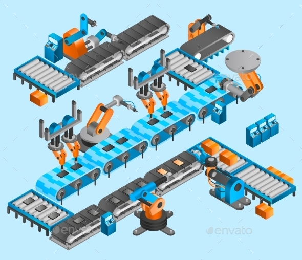Industrial Robot Isometric Concept - Business Conceptual