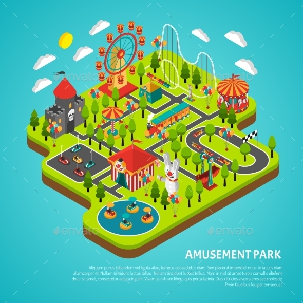 Amusement Park Attractions Fairground Isometric - Miscellaneous Characters
