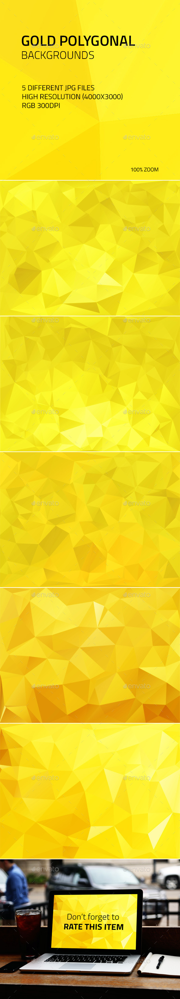 Gold Polygonal Backgrounds - Abstract Backgrounds