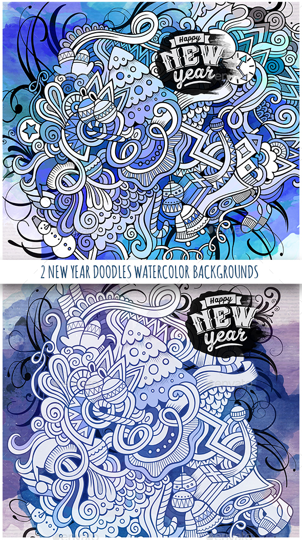 New Year Watercolor Doodles Designs - New Year Seasons/Holidays
