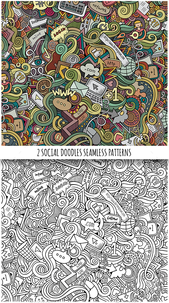 2 Social Doodles Seamless Pattern - Technology Conceptual