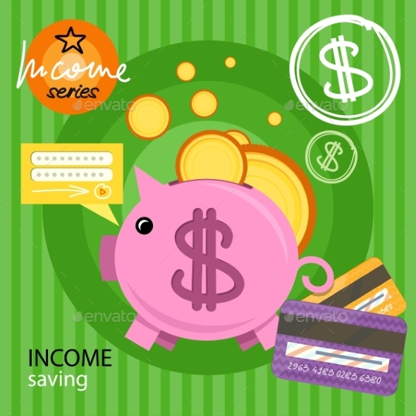 Piggy Bank With Coins Income Series - Concepts Business