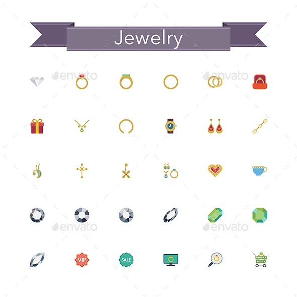 Jewelry Flat Icons - Man-made objects Objects