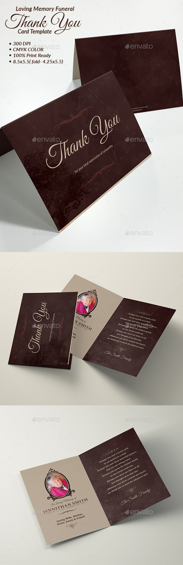 Loving memory funeral program thank you card template by for Funeral memory cards free templates
