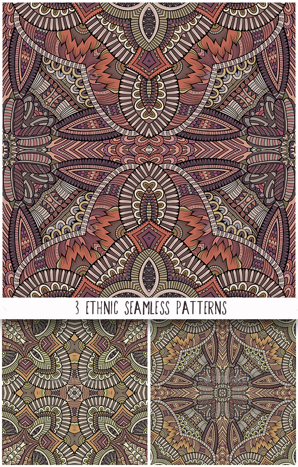 3 Ethnic Ornamental Seamless Patterns - Backgrounds Decorative