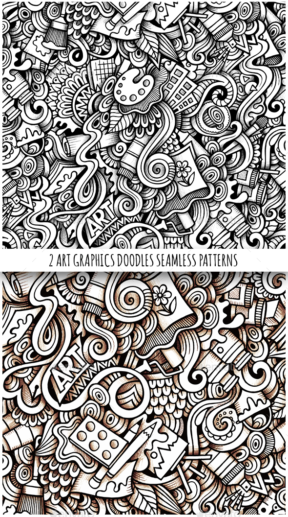 2 Art Doodles Graphics Seamless Pattern - Backgrounds Decorative