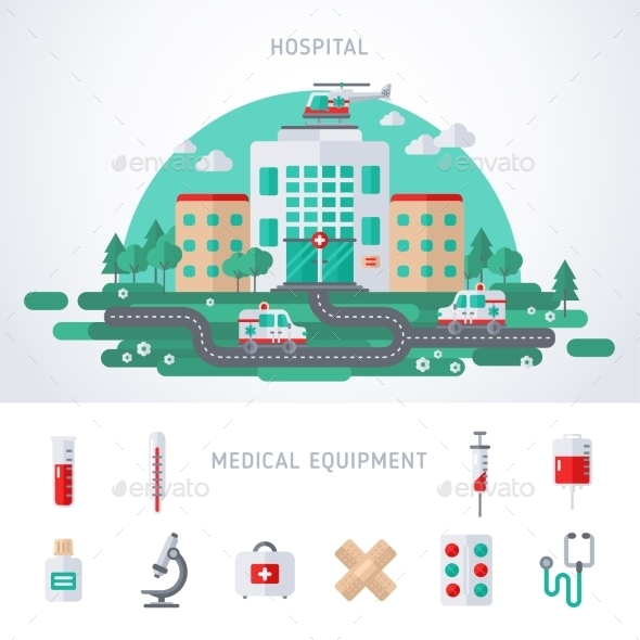 City Hospital Building with Helicopter - Health/Medicine Conceptual