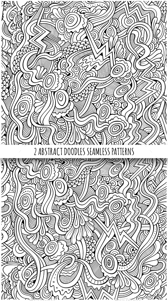 2 Line Art Fantasy Seamless Patterns - Patterns Decorative