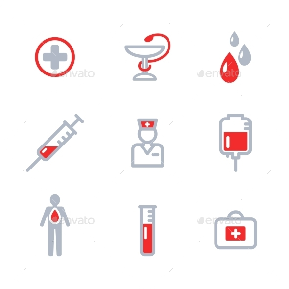 Donor Icons Set - Health/Medicine Conceptual