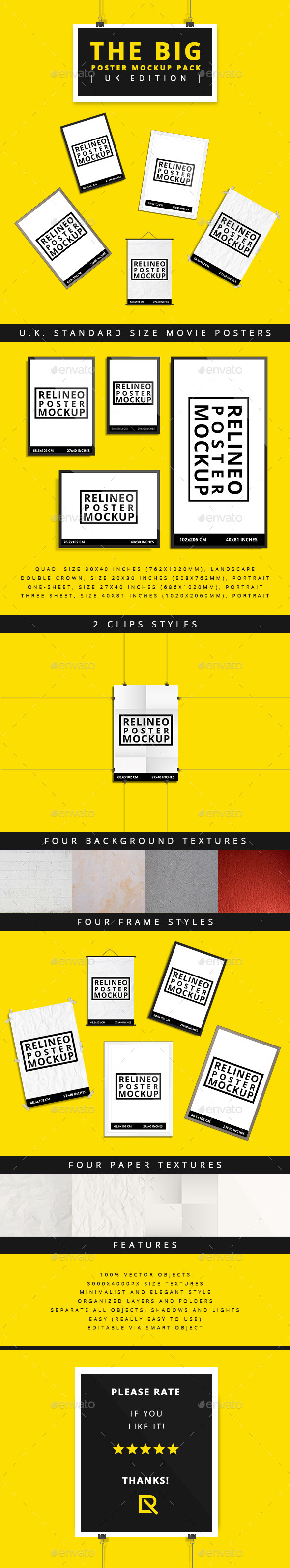 Poster Mock-up Pack U.K Edition - Posters Print