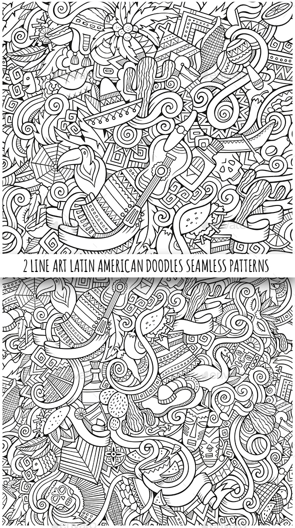 2 Latin American Doodles Seamless Patterns - Travel Conceptual