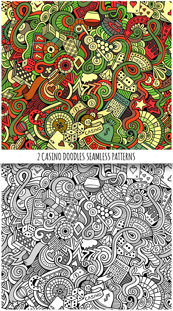 2 Casino Doodles Seamless Pattern - Backgrounds Decorative