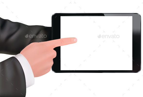 Hands Holding Digital Tablet - Concepts Business