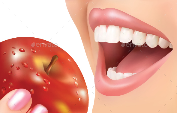 Lips with Apple - Food Objects