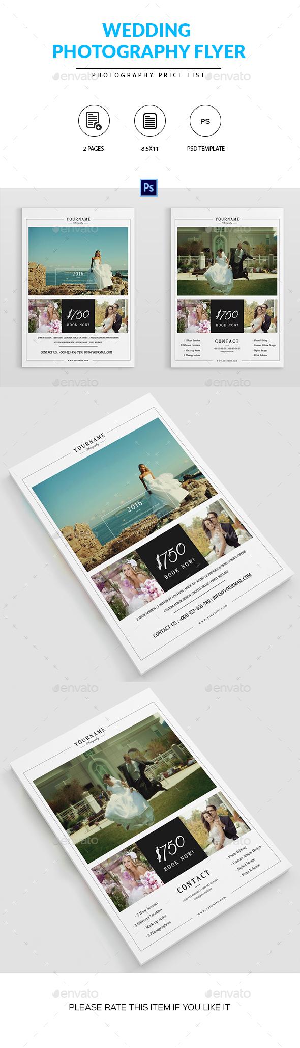 Wedding Photography Pricelist Flyer - Corporate Flyers