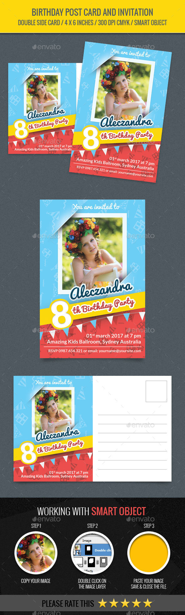 Birthday Post Card and Invitation Card - Birthday Greeting Cards