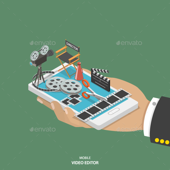Mobile Video Editor Flat Isometric Vector Concept - Computers Technology