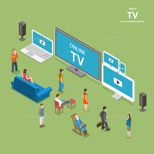 Streaming TV Isometric Flat Vector Illustration - Computers Technology
