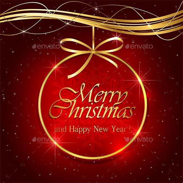 Christmas Decoration on Red Background - Christmas Seasons/Holidays